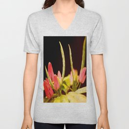Exotic Colorful Flowers On A Black Background #decor #society6 Unisex V-Neck