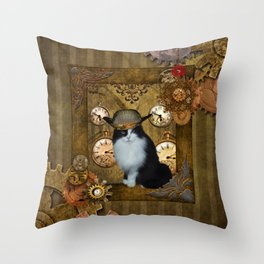 Funny cat with steampunk hat Throw Pillow