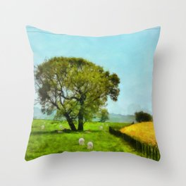 Sheep and Shade Throw Pillow