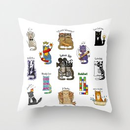 Science cats. History of great discoveries. Schrödinger cat, Tesla, Einstein. Physics, chemistry etc Throw Pillow