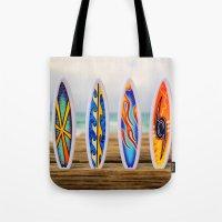 surfboard Tote Bags featuring Surfboard by Leonardo Vega
