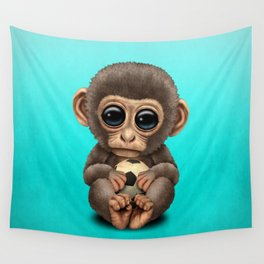 Cute Baby Monkey With Football Soccer Ball Wall Tapestry