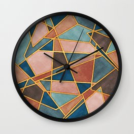 Abstract Desert Mosaic Watercolor with Gold Accents Wall Clock