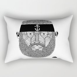 The One Armed Sushi Chef (Bearded Man Wearing Anchor Headband) Rectangular Pillow
