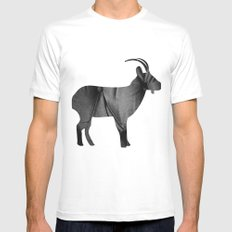 Goat (The Living Things Series) MEDIUM White Mens Fitted Tee