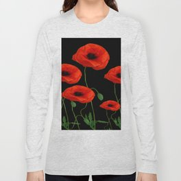 BLACK ART DECO RED POPPIES DESIGN Long Sleeve T-shirt