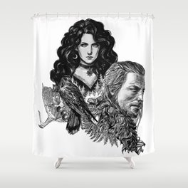 Geralt and Yennefer-Witcher Shower Curtain