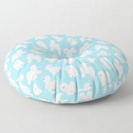 Bichon Frise Pattern (Blue Background) Floor Pillow