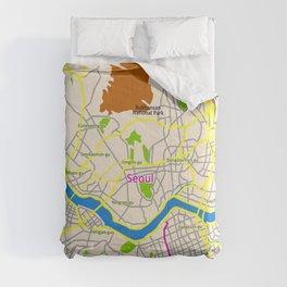 Seoul map Design Comforters