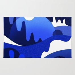 Terrazzo landscape blue night Rug