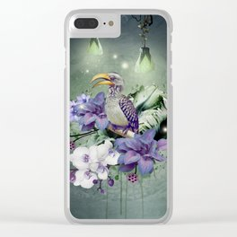 FLORAL MAGIC HORNBILL Clear iPhone Case