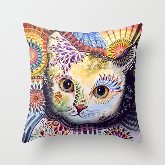 Lucy ... Abstract cat art Throw Pillow