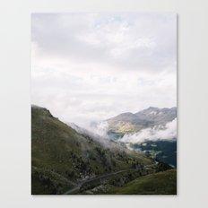 alps - mountains - Italy - landscape - travel - print - plants - green - pink - color - fog Canvas Print