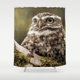 Nature woodland birds Owl bekon light Shower Curtain