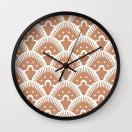 Fan Pattern Beige Wall Clock