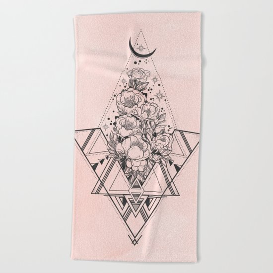 Roses in Moonlight Pink Beach Towel
