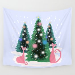Pink And Perfect Kitty Cats In The Sparkling Snow Wall Tapestry