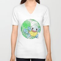 squirtle V-neck T-shirts featuring Squirtle by Mischievie