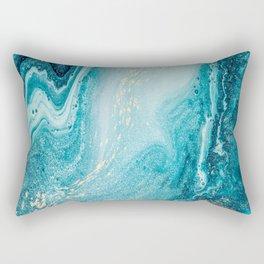 Azure, teal, aqua and gold marble texture Rectangular Pillow