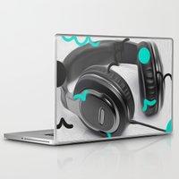 headphones Laptop & iPad Skins featuring Headphones by Oliver Green