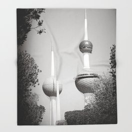Kuwait Towers Black and White Throw Blanket