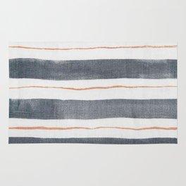 Denim, White, Rose Gold stripes Rug