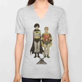 The Adventures of Hat-man and John the Boy Wonder Unisex V-Neck