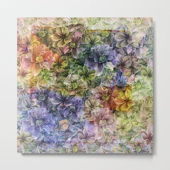 Floral painterly pattern Metal Print