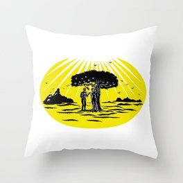 Adam and Eve Serpent Tree Woodcut Throw Pillow