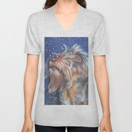 The wirehaired Dachshund dog art portrait from an original painting by L.A.Shepard Unisex V-Neck