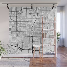 Fort Lauderdale Map, USA - Black and White Wall Mural