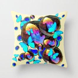 IRIDESCENT  BUBBLES BLUE BUTTERFLIES PEACOCK EYES ART DESIGN decor, furnishings Throw Pillow