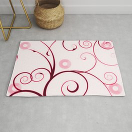 Cranberry Red Swirls and Circles Rug