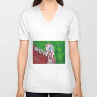 turkey V-neck T-shirts featuring Angry Turkey by Sian Blackman