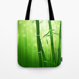 Bamboo Stalks with a Green Bokeh Background Tote Bag
