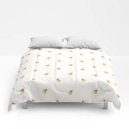 Gold Watercolour Bee Print Comforters