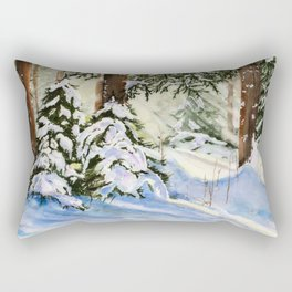 Wintery Forest Watercolour Painting Rectangular Pillow