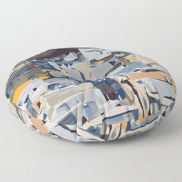 blue yellow grey and brown geometric graffiti painting abstract background Floor Pillow