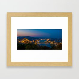 Aerial view of Budapest, Hungary, evening. Buda castle, Chain bridge and Parliament building. Framed Art Print