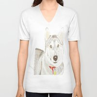 husky V-neck T-shirts featuring Husky by Lee Watson