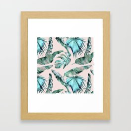 Tropical Palm Leaves Turquoise Green Coral Pink Framed Art Print