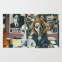 scully Area & Throw Rugs featuring X-Files - Agent Grey by JessLane