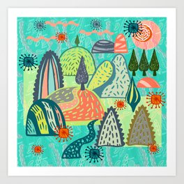 Happy Hills. Art Print