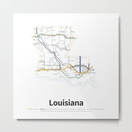 Highways of the USA – Louisiana Metal Print