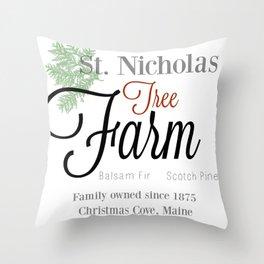 St. Nicholas Tree Farm Throw Pillow