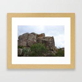 Mountain and Cactus overlay Framed Art Print