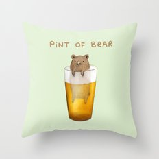 Pint of Bear Throw Pillow
