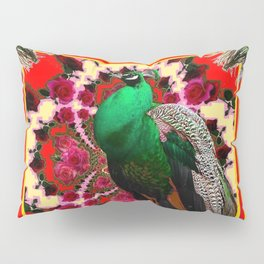 GREEN PEACOCK & FEATHERS RED-BLACK ART Pillow Sham