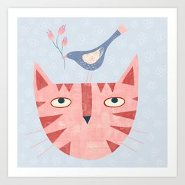 Cat, bird and flower Art Print