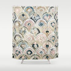 Art Deco Marble Tiles in Soft Pastels Shower Curtain